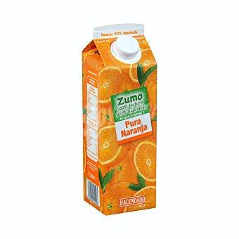 Hacendado Zumo naranja exprimida 100% sin azúcar y sin pulpa Brik 1 l