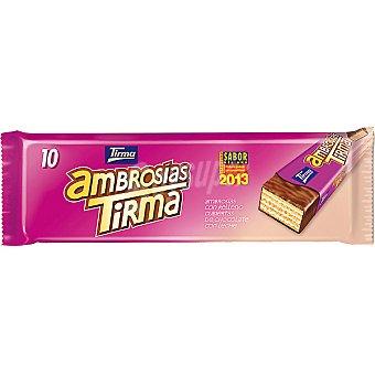 TIRMA Ambrosias Tradicional galletas de barquillo recubiertas de chocolate paquete 215 g Paquete 215 g