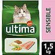 Alimento completo con trucha, arroz y cereales para gatos con digestión sensible Saco 1,5 kg Ultima Affinity