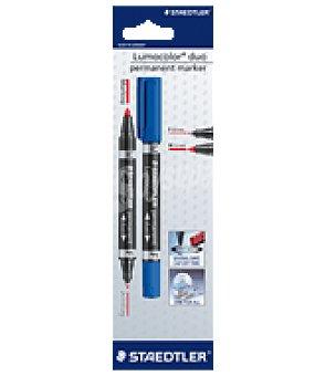 Staedtler Rotulador permanente de doble punta F= punta fina 0,6 mm. M= punta media 1,5 mm . color azul
