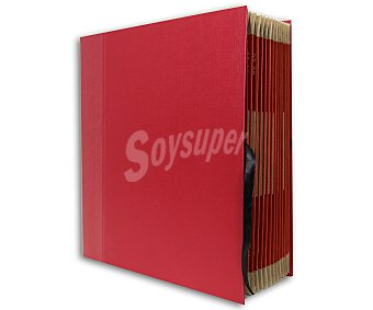 Auchan Carpeta Acordeón con Tamaño DIN A4 y Folio Ideal para la Oficina en Casa Cartón Forrado con Relieve de Alta Calidad y en Color Burdeos 1 Unidad