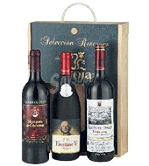 O Estuche madera con 3 botellas de vino Selección Reservas D. Ca. Rioja 75 cl