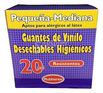 Rubberex Guantes desechables vinilo pequeña / mediana Paquete de 20 unidades