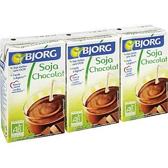 Bjorg Bebida de soja con chocolate ecológica envase mini 3 unidades de 25 cl