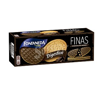 Fontaneda Galletas digestive finas con chocolate negro Caja 170 gr