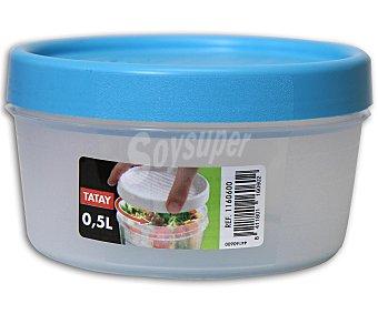Tatay Taper con tapa de rosca color azul, capacidad de tatay 0.5 litros
