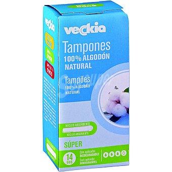 Veckia Tampón super de algodón natural con aplicador biodegradable Caja 14 unidades