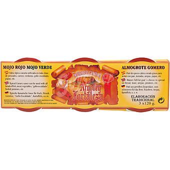 ARGODEY FORTALEZA Mojo rojo envase 120 g + mojo verde envase 120 g + salsa almogrote gomero envase 120 g Envase 120 g