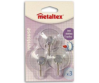 METALTEX Juego de 3 ganchos metálicos de cocina con ventosa Pack de 3 Unidades