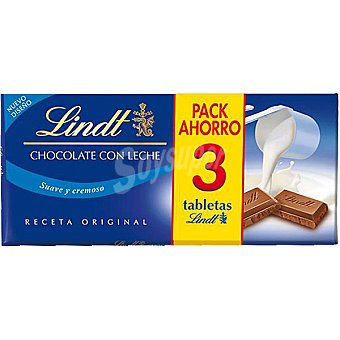 Lindt Chocolate con leche s 125 g Pack ahorro 3 tableta