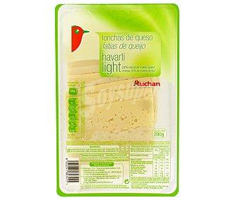 Auchan Queso en lonchas Havarti Light, 200 gramos