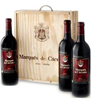 Marqués de Cáceres Estuche madera con 3 botellas de vino d.o.ca. Rioja 75 cl