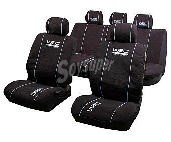 WRC Juego de fundas para asientos de automóvil, de talla única y fabricadas en poliester de color negro con costuras en color blanco 1 unidad