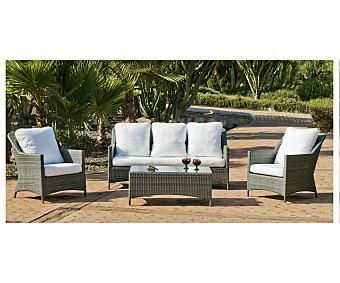 HEVEA Conjunto de mesa, sofá de 3 plazas y 2 sillones, modelo Timur en gris antracita y con estructura de aluminio y recubiertos de rattan 1 unidad