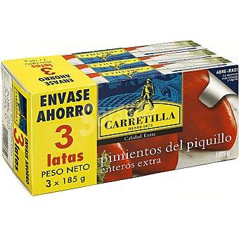 Carretilla Pimientos del piquillo enteros extra neto escurrido Pack ahorro 3 latas 150 g