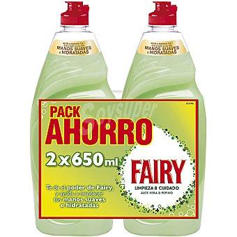 FAIRY LIMPIEZA & CUIDADO Lavavajillas a mano concentrado con aloe vera y pepino Pack ahorro 2 botellas 650 ml