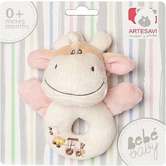 Artesavi W14 Sonajero redondo con peluche de vaca en color rosa 1 unidad