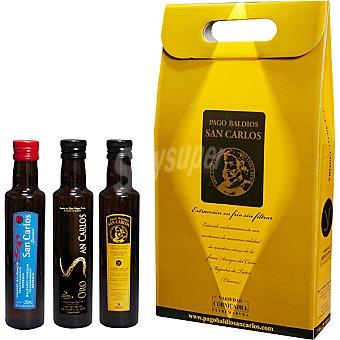 Pago Baldios San Carlos Aceite de oliva virgen extra arbequina y coupage arbequina y cornicabra estuche 2 botellas 250 ml + vinagre Pedro Ximénez botella 250 ml Estuche 2 botellas 250 ml