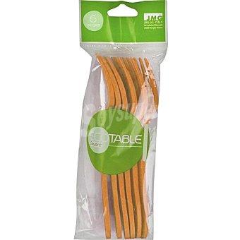ECOTABLE Tenedores compostables naranjas Paquete 6 unidades
