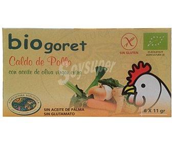 Biogoret Caldo Pollo con Verduras Ecológico 6 Unidades 66 Gramos