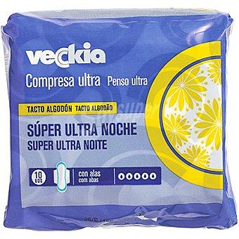 Veckia Compresa ultra con alas tacto algodón super noche Bolsa 10 unidades
