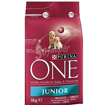 One Purina Alimento especial para cachorros con pollo y arroz Junior Paquete 3 kg