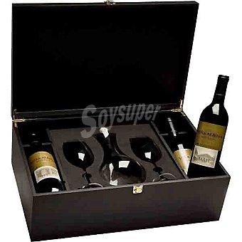 Viña Albina Vino tinto Reserva D.O. Rioja + dos copas y decantador Estuche 4 botellas 75 cl
