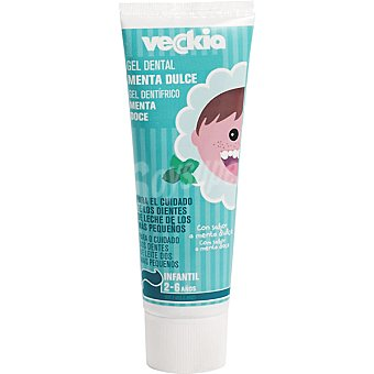 Veckia gel dentífrico infantil menta dulce para el cuidado de los dientes de leche 2-6 años Tubo 75 ml