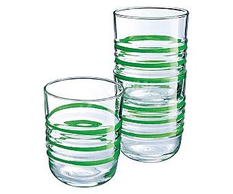 LUMINARC Parade Vaso bajo de vidrio con rayas verdes, 0,27 litros, Parade LUMINARC. 0,27 litros