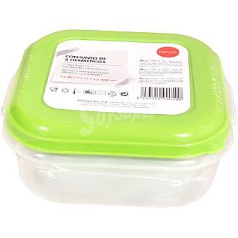 BASIC Recipiente hermético cuadrado colores surtidos envase 3 unidades