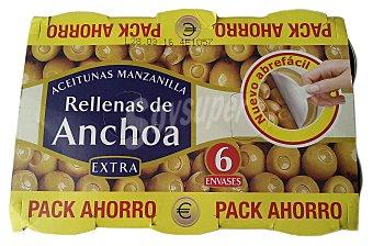 Hacendado Aceituna rellena anchoa Lata pack 6