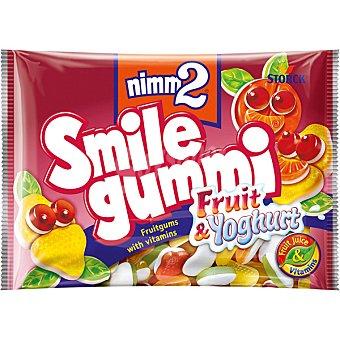 NIMM2 SMILE GUMMI Caramelos de goma con zumo de frutas y vitaminas sabor fruta y yogur Bolsa 100 g