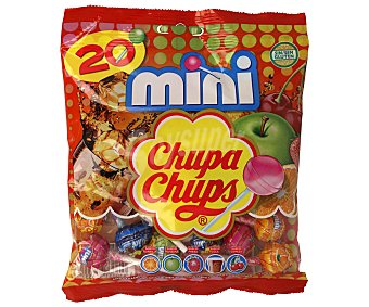 Chupa Chups Caramelo con palo de sabores mini Bolsa 20 ud