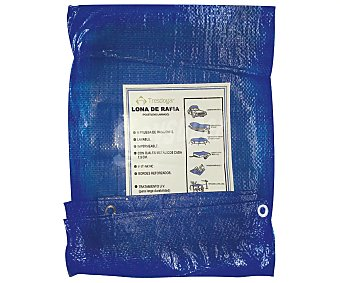 Tresdogar Lona o suelo de rafia de de color azul o verde, con ojales de aluminio a intervalos, bordes reforzados y medidas de 5 x 7 metros tresdogar 80 gramos