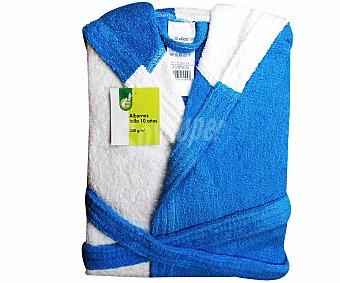 PRODUCTO ECONÓMICO ALCAMPO Albornoz infantil de rizo bicolor, turquesa y blanco, talla 10 años 1 Unidad