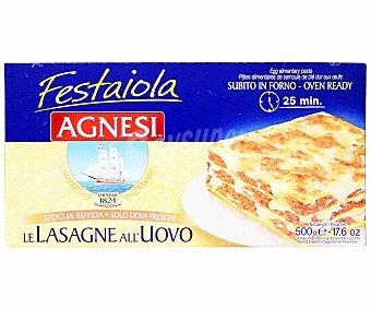 Agnesi Lasaña, pasta de sémola de trigo duro de calidad superior al huevo en placas precocidas 500 Gramos