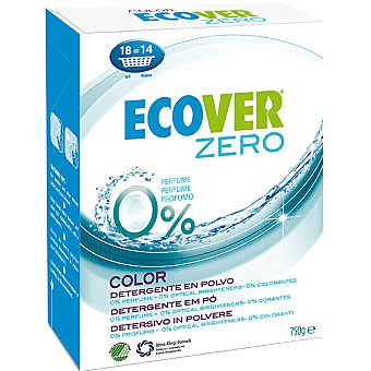 ECOVER Zero Detergente maquina en polvo para ropa de color sin perfume ecológico Envase 18 cacitos