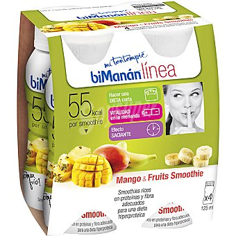 Bimanan LINEA Mi Desayuno Smoothie Mango & Fruits pack 4 x 125 g estuche 500 g Pack 4 x 125 g