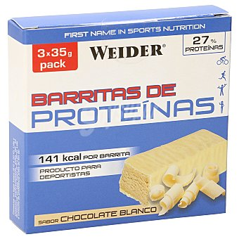 Weider Barritas de proteínas sabor chocolate blanco caja 3 uds caja 3 uds