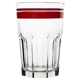 LUMINARC  Vaso grande de vidrio con raya en color rojo  40 cl