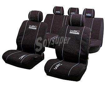 WRC Juego de fundas para asientos de automóvil de talla única y fabricadas en poliester de color negro con costuras en color blanco WRC