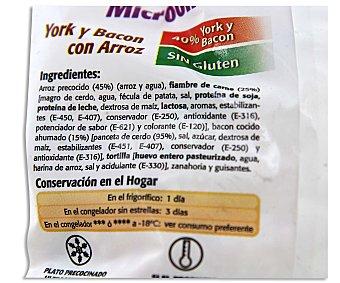 Fripozo Salteado de arroz blanco, guisantes, zanahorias, dados de jamón york y bacon sin gluten Bolsa de 400 gramos