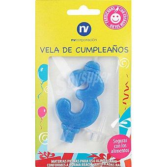 NV. Vela de cumpleaños azul nº3 blister 1 unidad 1 unidad