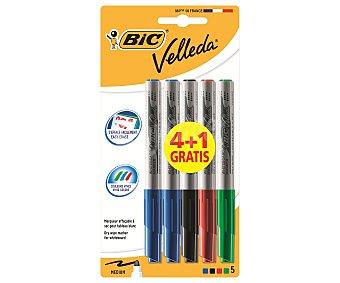 Bic Lote de 5 rotuladores para pizarra blanca, con punta media y tinta borrable azul, negra, verde y roja Velleda