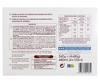 Auchan Helado Bombón, sabor vainilla con cobertura de chocolate con leche y trocitos de almendra Pack 4 Unidades de 120 Mililitros