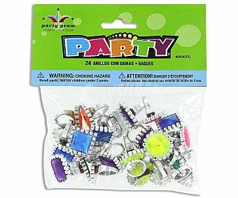 Party Anillos con gemas (no recomendable para niños menores de 3 años) 24 unidades