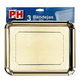 P&H 5 Bandejas en cartón oro 22x28 5 ud
