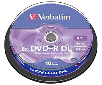 VERBATIM 10 DVD+R DL Pack 10 dvd+r Double Layer 8,5 GB 8X Pack 10