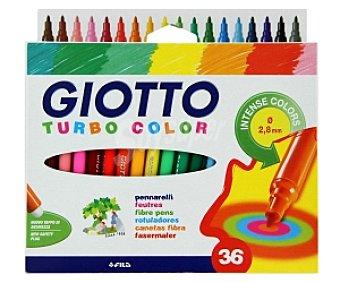GIOTTO Caja de 36 rotuladores, con punta media, grosor de trazado de 2.8 milímetros y de diferentes colores intensos 36 unidades