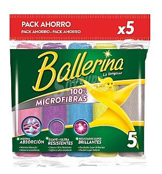 Ballerina Bayetas multiusos de microfibra suave, ulltra resistente, con máxima absorción, de diferentes colores y con resultados super brillantes 5 unidades